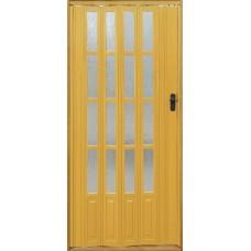 Дверь раздвижная (гармошка) остекленная с мягким соединением, цвет Дуб