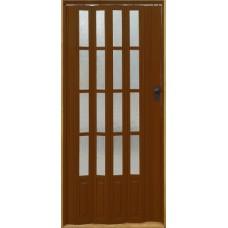 Дверь раздвижная (гармошка) остекленная с мягким соединением, цвет Тёмная вишня