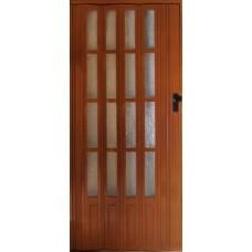 Раздвижная остекленная дверь с мягким соединением, цвет Вишня